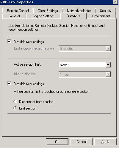 RDP Timeout value for windows server 2008