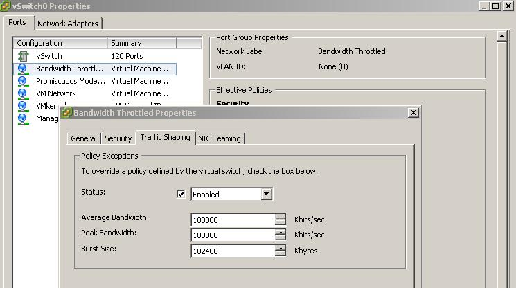 bandwith throttled Virtual Machine Port Group