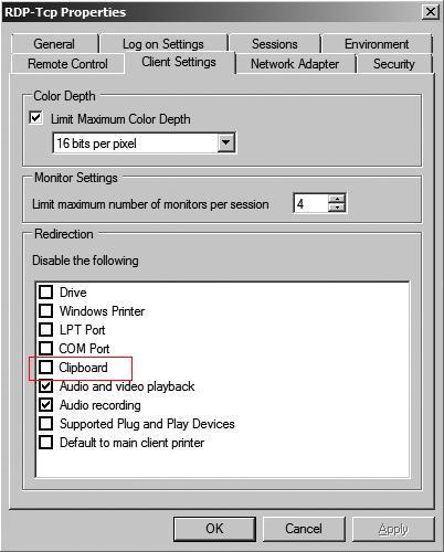 RDP Clipboard option