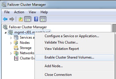Enable Cluster Shared Volumes