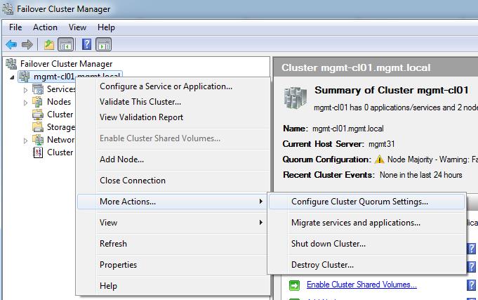 Configure Cluster Quorum Settings
