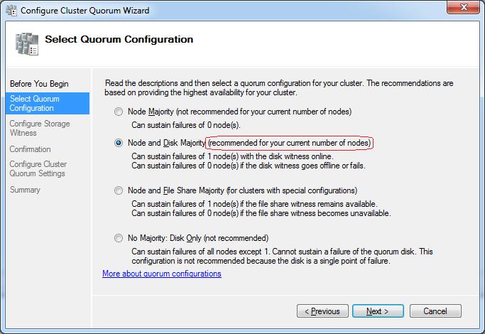 Select Quorum Configuration