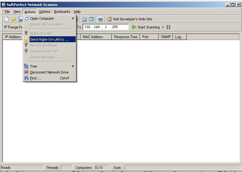 Screenshot of WOL feature