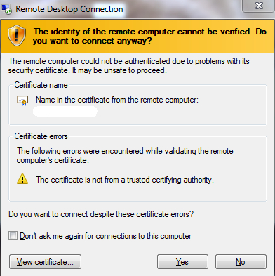 Certificate notification error that we want to disable.