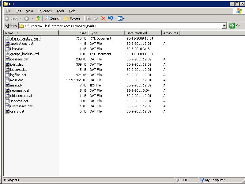 Print screen db file