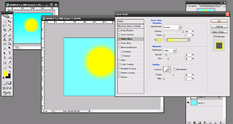 Simple sun with Outer Glow sample.