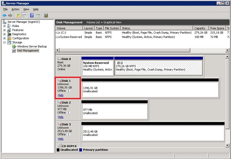 Disk Management (Before)