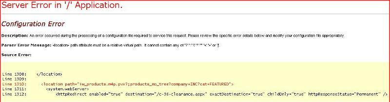 xml server error