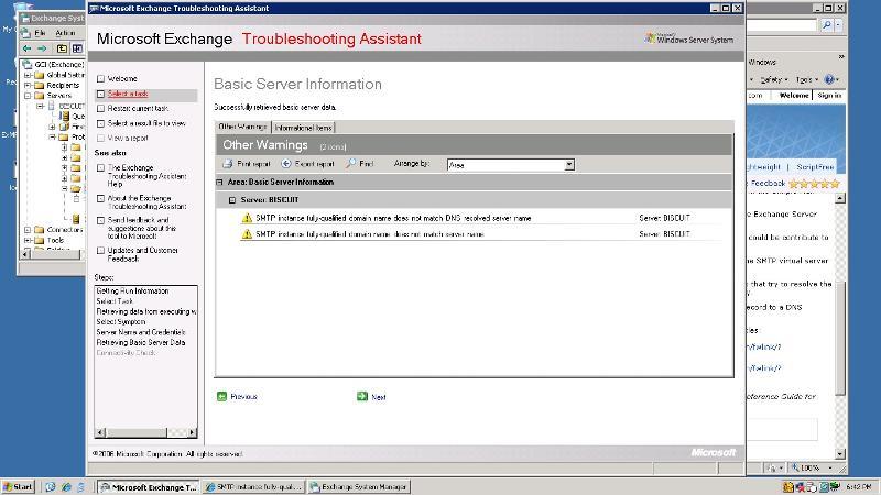 MS Exchange Troubleshooting Assistant Screen Shot SMTP error