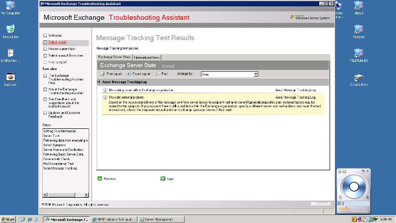 MS Exchange Troubleshooting Assistant Screen Shot Tracking result