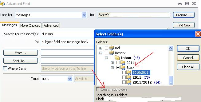 advanced search outlook2010