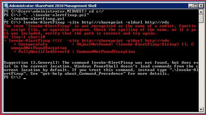 "sharepoint powershell ""invoke-alertfixup"" error"