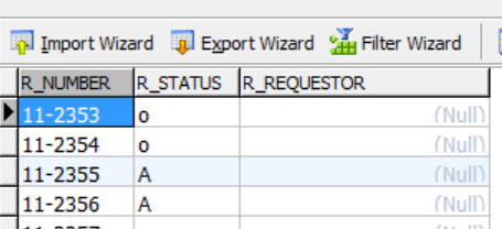 request table view