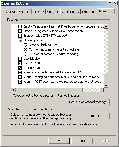 Advanced IE Settings