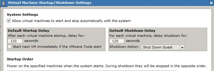 Virtual Machine Startup/Shutdown Settings