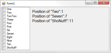 Screenshot of CheckedListBox and positions of specific items in list.
