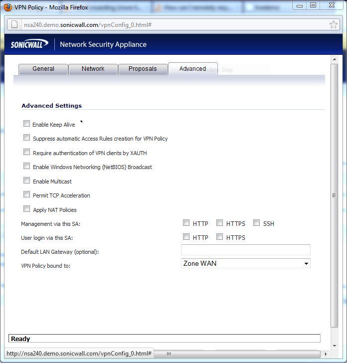 Advanced tab for VPN binding.