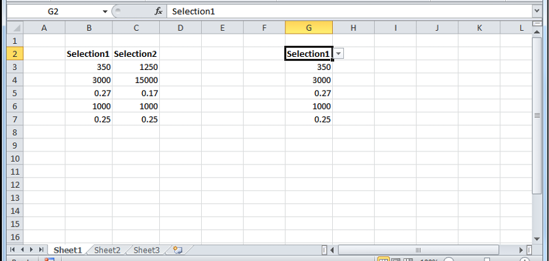 User has selected 'Selection1' from drop-down