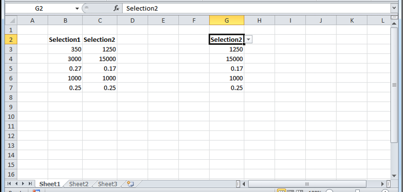 User has selected 'Selection2' from drop-down