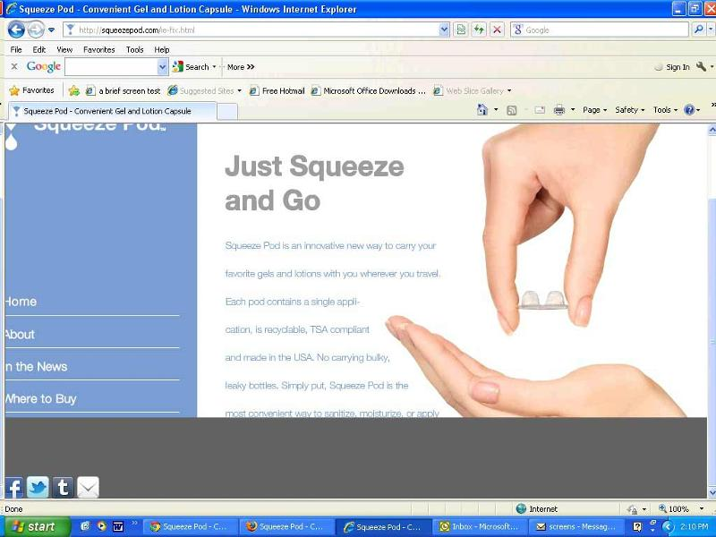Squeezepod.com in IE 8 on PC