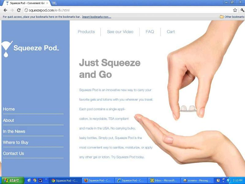Squeezepod.com in Chrome 14 on PC