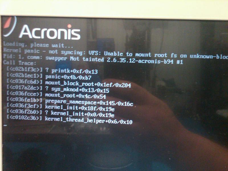 Acronis bootCD error