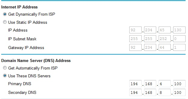 Showing router public IP address