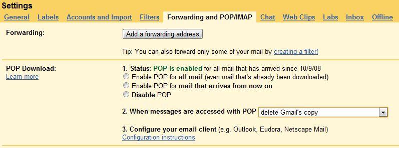 Gmail POP/IMAP Config