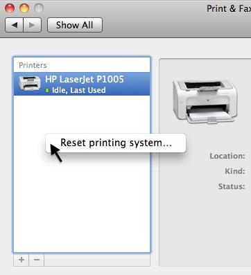 Reset printing system... (Mac OS X 10.6)