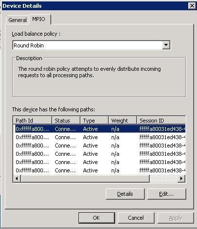 Device Details MPIO Tab