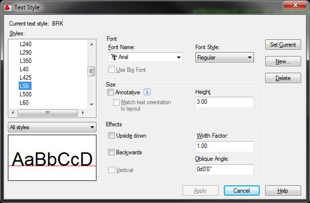AutoCAD LDC Text Style