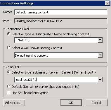 ADSIEdit - Connection Settings