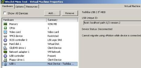 Adding a External Hard drive to a VM