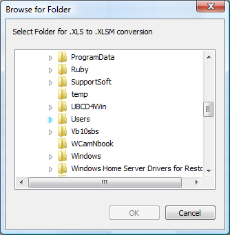 Convert between Excel file formats ( XLS,  XLSX,  XLSM) with