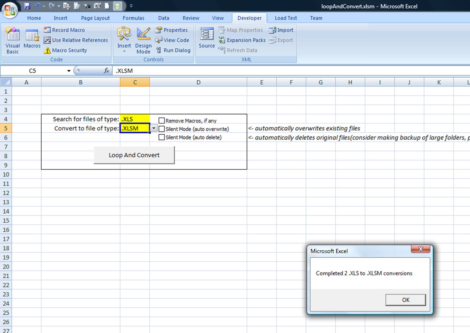 Convert between Excel file formats ( XLS,  XLSX,  XLSM) with