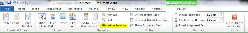 "Word Ribbon - Highlighting ""Link to Previous"" button"