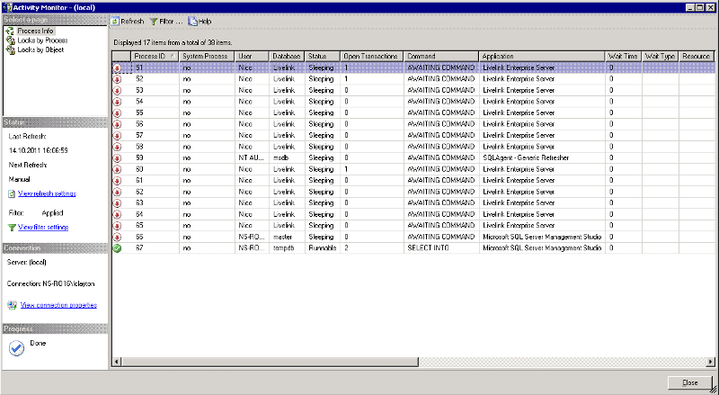 SQL 2005 Activity Monitor