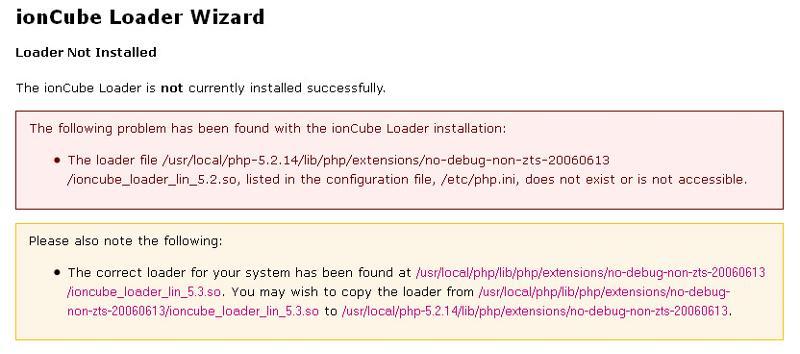 IonCube Wizard error