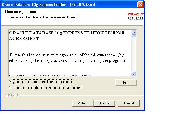 Installing Oracle 10g Express Edition on Windows Operating