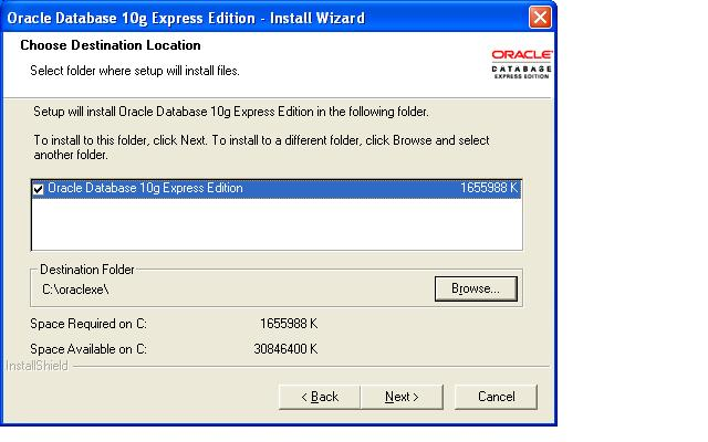 Installing Oracle 10g Express Edition on Windows Operating system