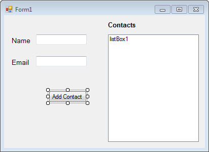 Interface for contacts application