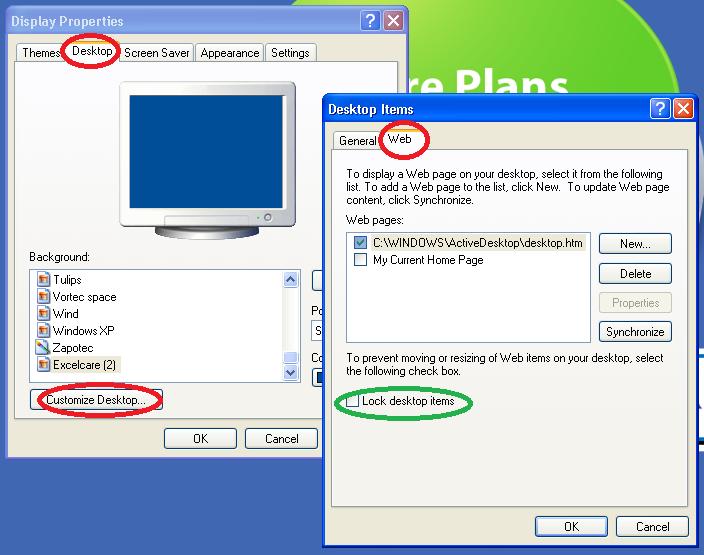 Lock Desktop Items