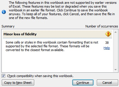 Excel 2007 warning message
