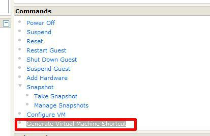 Select Generate Virtual Machine Shortcut