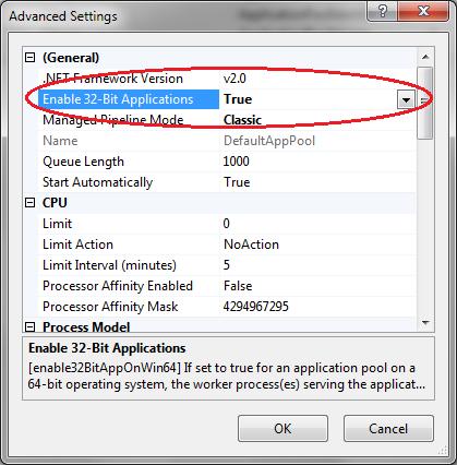 Application Pool Advanced Settings - IIS7