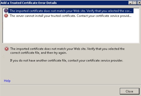 Using GoDaddy SSL - The imported certificate does not match your Web ...