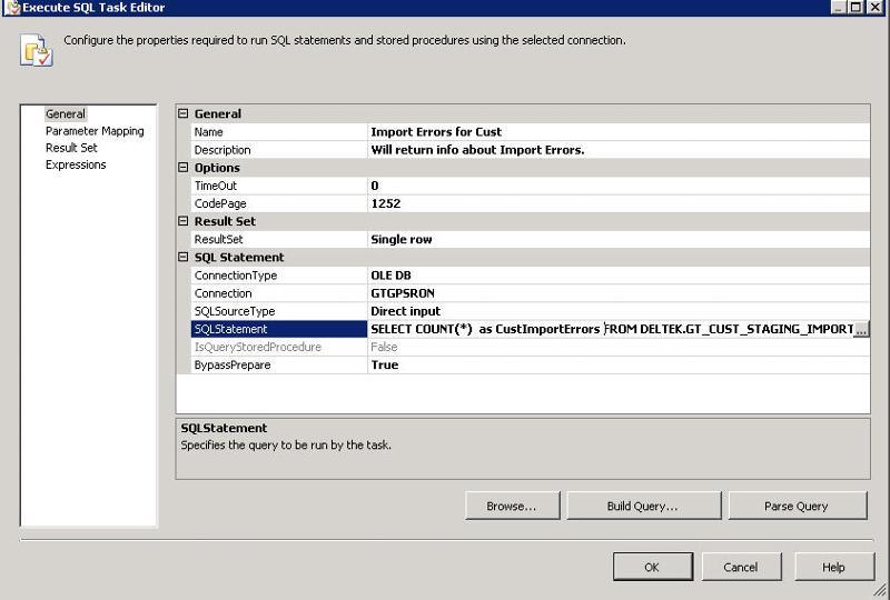 General Tab of SQL Task