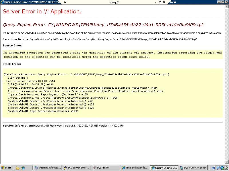 Crystal report loading runtime error