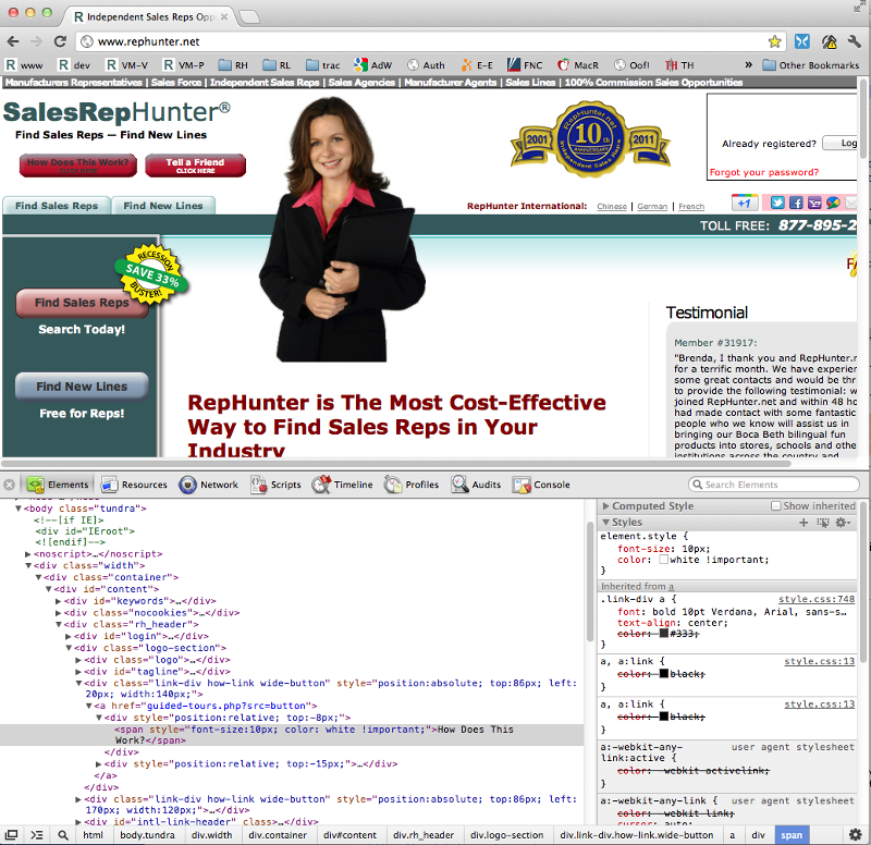 Showing web page and Web Developer, with wrong text color.