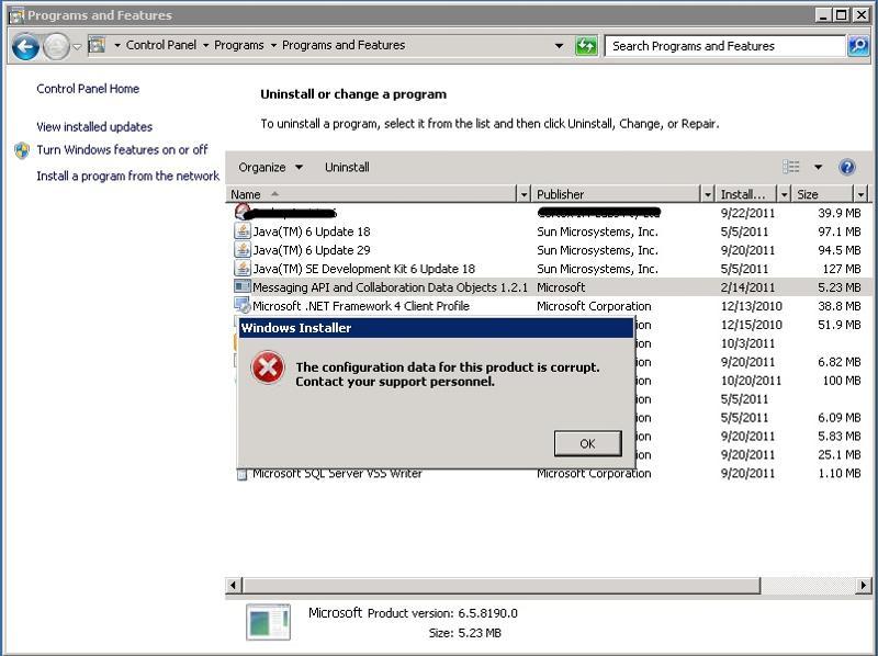 Error while running msi or uninstalling..